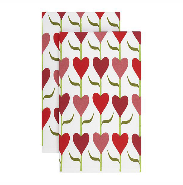 Valentine Tulip Dishtowel for Crate & Barrel